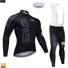 2019 Pro Custom TEAM Winter Thermal Fleece Cycling Jersey pantaloni da bici Set Mens Ropa Ciclismo 16D Ciclismo Maillot Culotte Wear
