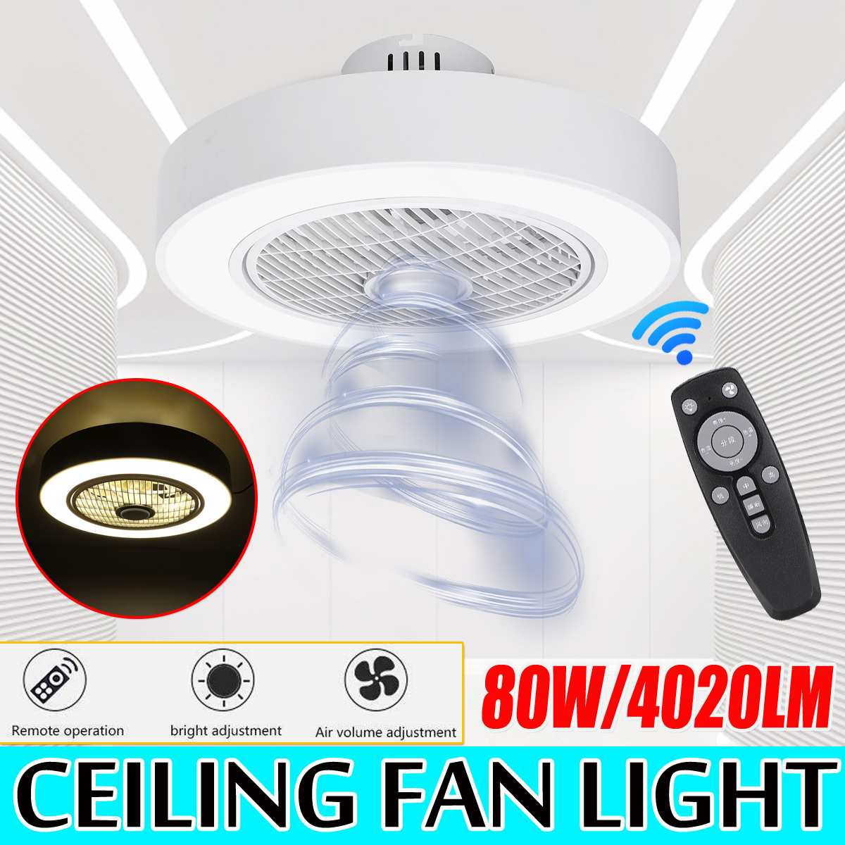 Ceiling Fan Lamp Remote Control three-color dimming ceiling fan light Modern Acrylic Light White Decor Light for Home AC185-250V