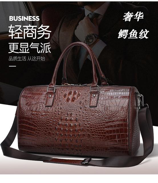 Leather alligator travel bag men's large capacity luggage bag women's leather business boarding bag portable fitness bag 2