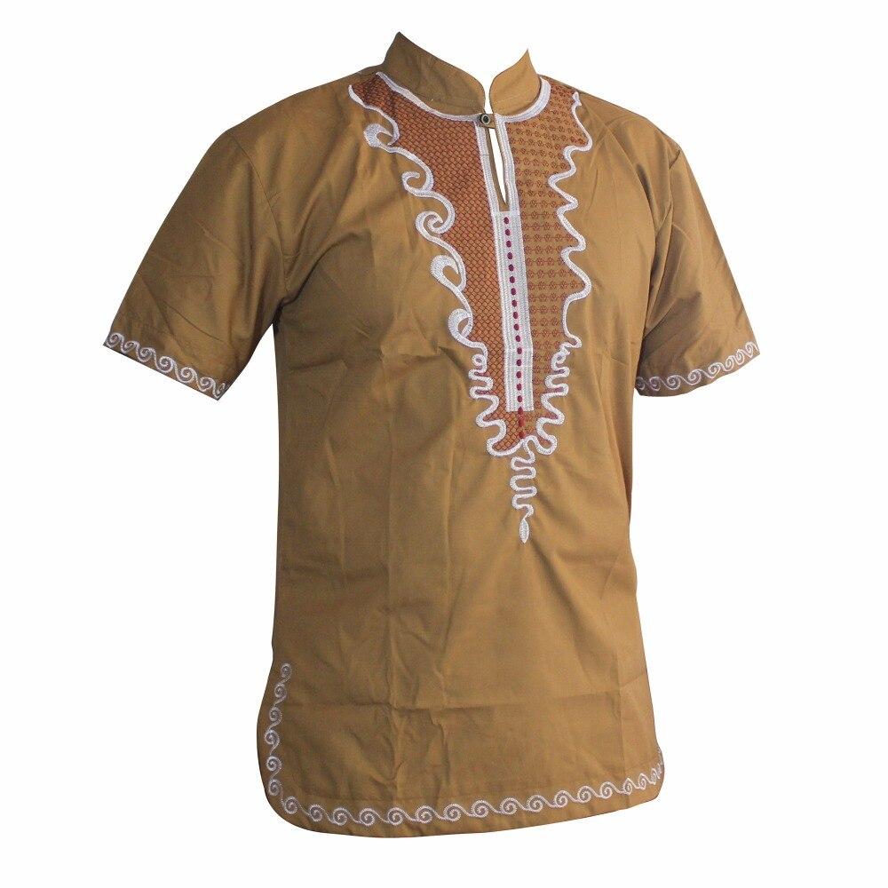 рубашка мужская Great Golden Embroidered Slim African Hippie Dashiki Top Ankara For Man's Short Sleeve Fashion Muslim T-Shirts