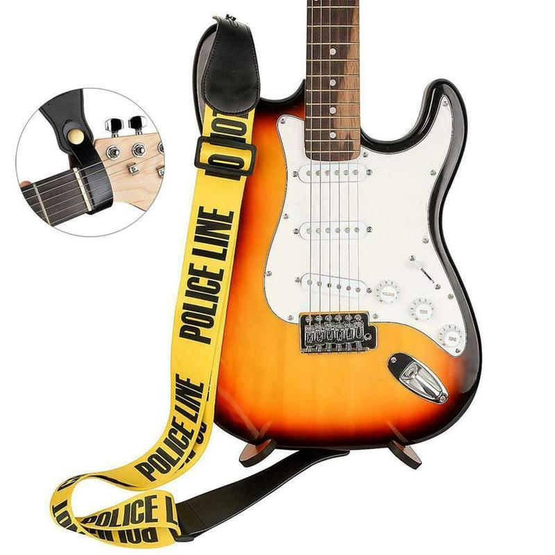 Yellow Adjustable Polyester Guitar Belt Guitar Strap with PU Leather Ends for Electric Bass Guitar Parts Accessories Pakistan