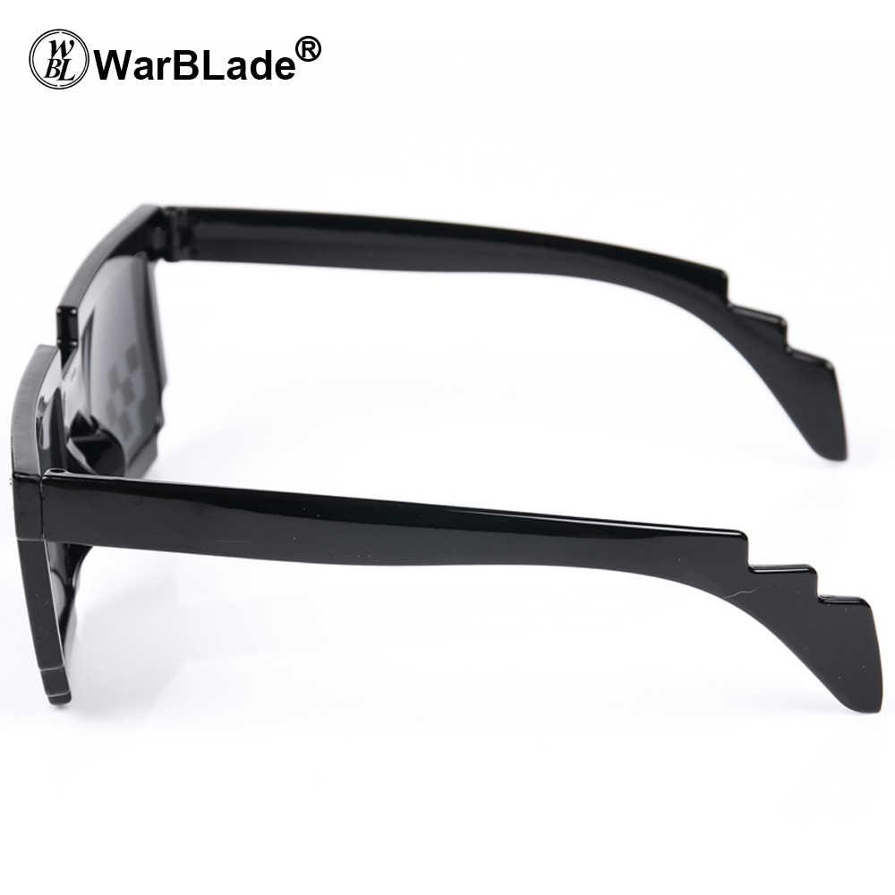Warblade Berurusan dengan Itu Kacamata 8 Bit Pixelated Kacamata Hitam Pria Wanita Merek Kehidupan Pesta Kacamata Mosaik Vintage Eyewear
