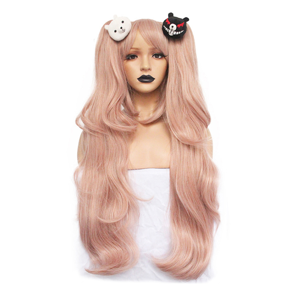 Danganronpa: Trigger Happy Havoc Women Enoshima Junko Cosplay Wig Enoshima Junko Role Play Ponytails With Bears Hair Pins