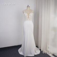 ספגטי רצועת נדן תחרת Appliqued פרל חרוזים נמוך חזרה קרפ כלה שמלת הילארי דאף של חתונה שמלת חומר