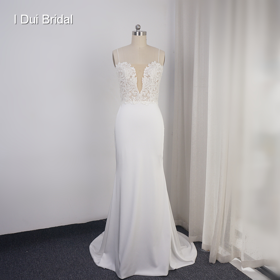 Spaghetti Strap Sheath Wedding Dress Lace Appliqued Pearl Beaded Low Back Crepe Bridal Gown Hilary Duff's Wedding Dress Material