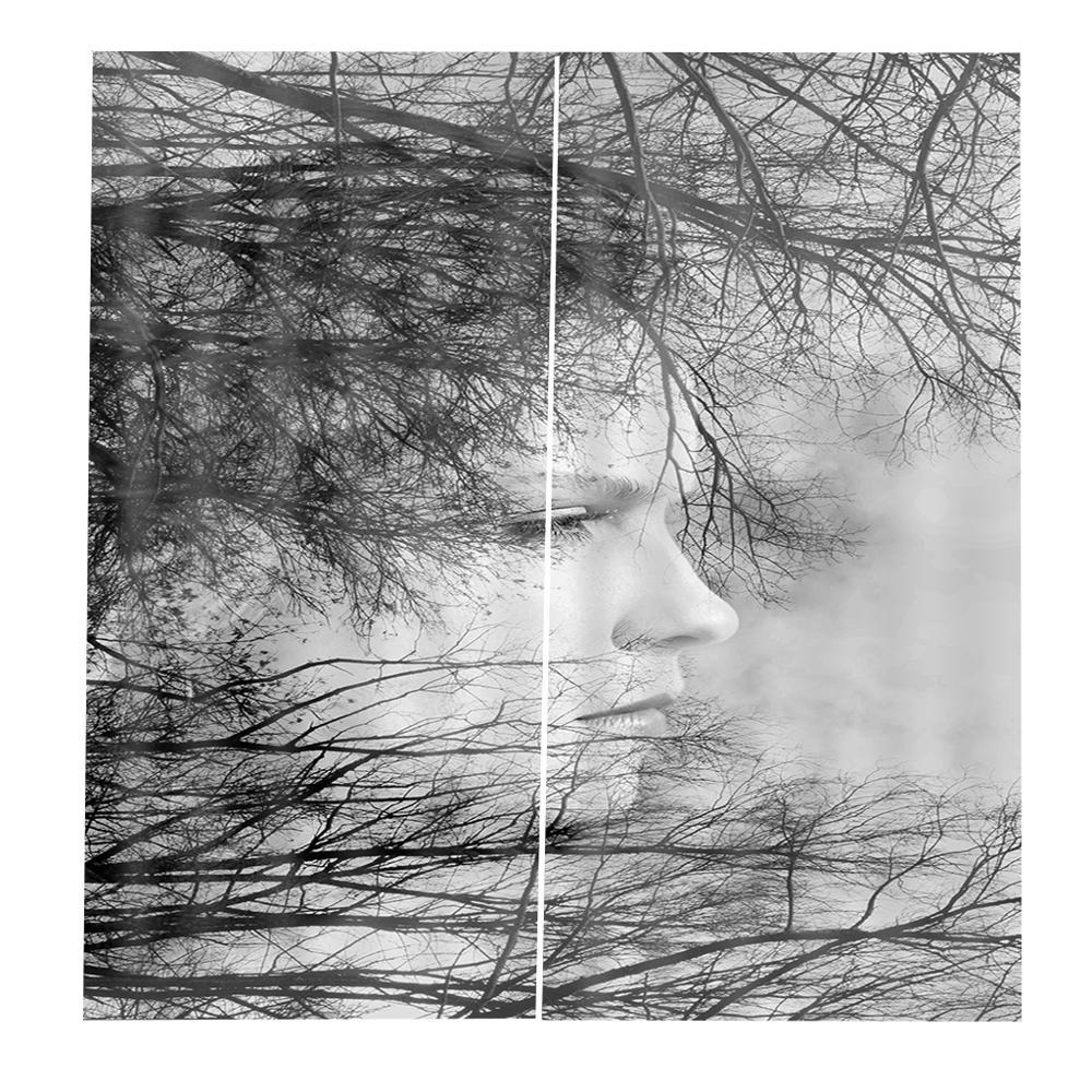 Cortina de ducha blanca y negra personalizada para decoración de ramas de árbol para la vida Natural otoño temática dormitorio cortina de la cara opaca - 5