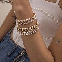 Salircon Luxury Crystal Tennis Chains Bracelet for Women Girls Kpop Charm Rhinestone Couple Bracelets on Hand Jewelry Gift 2021