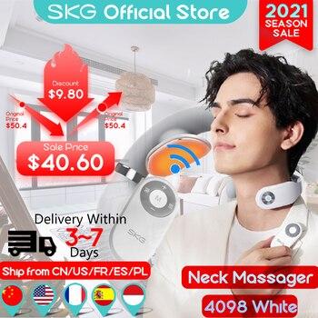 SKG Neck Massager Remote Control Hot Compress EMS Electric Pulse Smart Neck Massager Cervical Pain Relief electric Neck massager 1