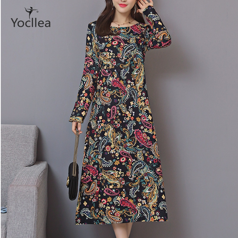Cotton Linen Autumn dress office Lady Loose Plus size Long dress Women's Dresses