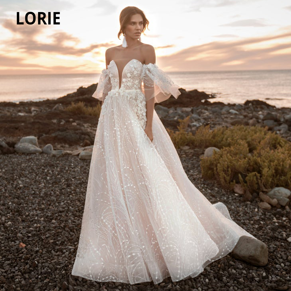 LORIE Detachable Short Sleeve Wedding Dresses Lace Appliques Bride Gowns Beach 2019 Bohemia Wedding Gown Sexy V-neck Open Back