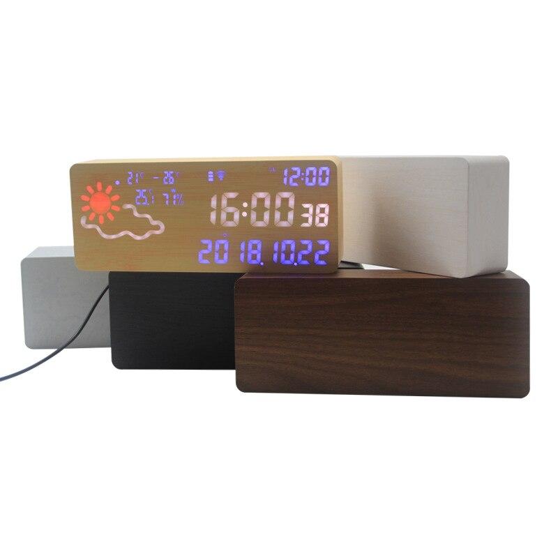 Réveil intelligent numérique électronique prévision météo commande vocale thermomètre hygromètre Wifi connexion Led silencieux Snooze - 6