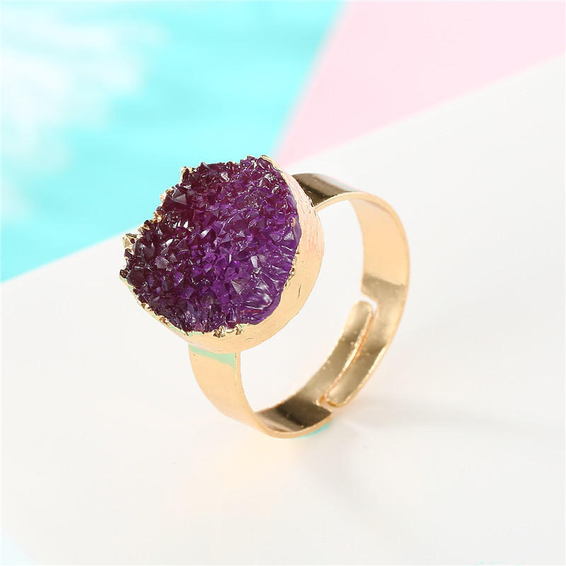 BELLAHYDIARY Round Pink Green Purple Resin Adjustable Ring Women Gifts Wedding Rings For Women Accessories Jewelry Jewellery R32 (7)