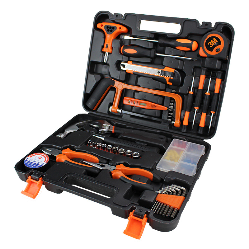 Carbon Steel Toolbox 82-Piece Portable Hand Household Hardware Tools Box Car Mounted Tools Set 004-1