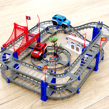 Railway Magical Glowing Flexible Track Car Toy Children Racing Bend Rail Track Electronic Car DIY Educational Assembly Rail gift new magic track flexible rail racing car model railway road magical truck pull back tracks cars set diy toys for children gifts