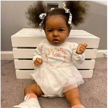 22 polegada bebes reborn pele preta reborn boneca do bebê lifelike explodir cabelo boneca realista reborn criança crianças presente playmate