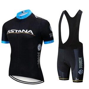 Image 5 - 2019 Astana Team Rode Korte Mouwen Jersey Fiets Kleding Mountainbike Set 20D Gel Wielertrui Pak Ciclismo