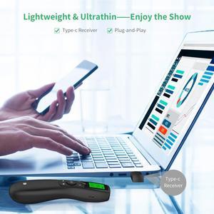 Image 4 - Présentateur sans fil, télécommande de présentation Doosl avec récepteur type c, pointeur vert, écran LED, Clicker PowerPoint pour réunion