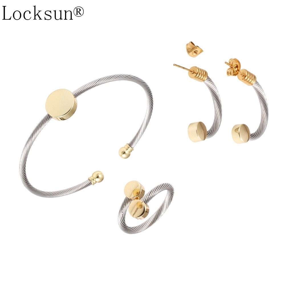 Bangle-Sets Open-Ring Jewelry-Set Stud-Earrings Stainless-Steel Gold Locksun Women Fashion