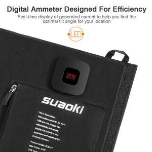 Image 4 - Suaoki 21W 태양 전지 패널 충전기 배터리 접이식 방수 태양 에너지 LED 디스플레이 듀얼 USB 5V/4A 출력 아이폰 X 8 화웨이