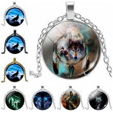 Heat! 2019 Latest Night Wolf Pattern Series Glass Cabochon Jewelry Necklace Pendant Hot Sale Fashion Mens Gift