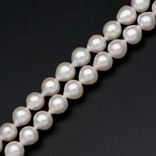 "White Freshwater Teardrop high quality natural freshwater pearl necklace for women pearl jewelry, Near Round Pearl Wholesale (#PL-41)/ 15.5"" Full strand(China)"