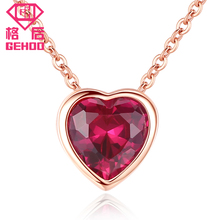 Gehoo 925 Streling Silver Rose Gold color Red Ruby Heart Pendent Necklace for Women Jewelry Vintage Necklaces for Party Wedding недорого