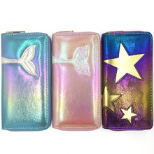 US $3.0 |Fashion Women Mermaid Wallets Long PU Leather Star Wallet Female Purse Lady Purses Phone Credit Card Wallet Bag Wholesale-in Wallets from Luggage & Bags on AliExpress