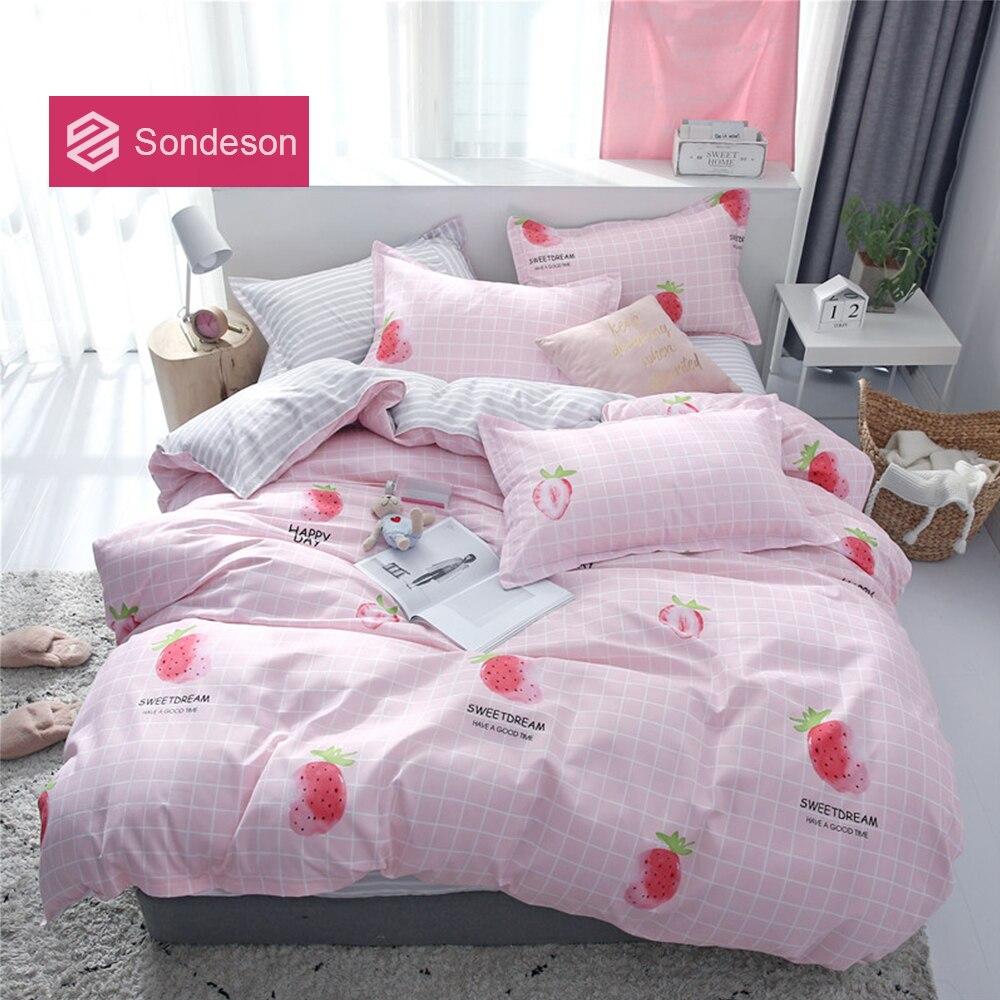 Sondeson Cartoon Strawberry Bedding Set Printed Soft Decor Duvet Cover Flat Sheet High Quality Pillowcase Bed Linen For Adult
