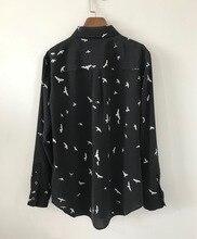 여성 셔츠 봄 여름 100% 실크 갈매기 인쇄 긴 소매 블라우스