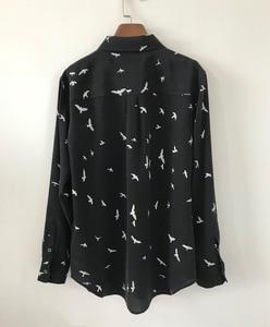 Image 1 - Женская рубашка Весна Лето 100% шелк с принтом чайки с длинным рукавом блузки