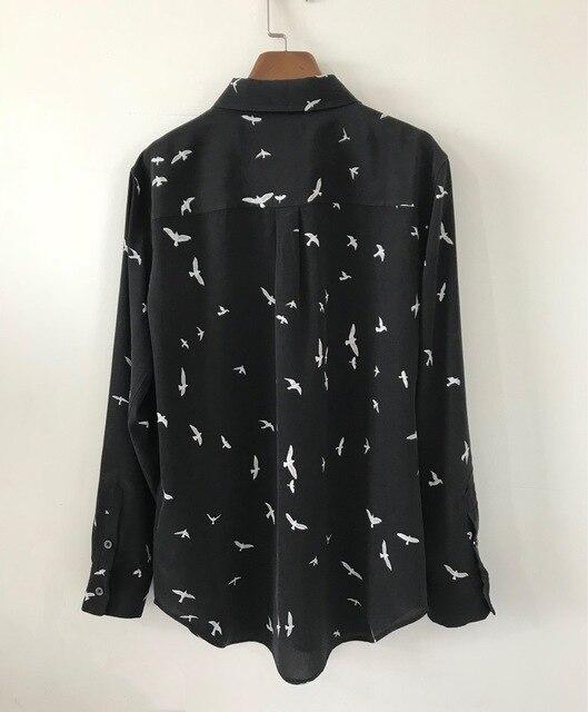 Женская рубашка Весна Лето 100% шелк с принтом чайки с длинным рукавом блузки
