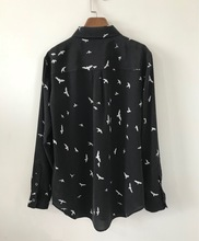 Women Shirt Spring Summer 100% Silk Seagull Print Long Sleeve Blouses