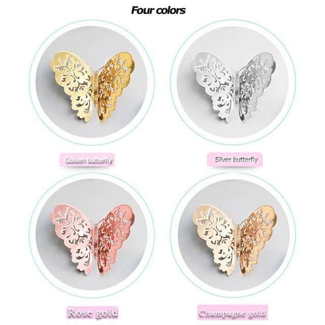 12pcs/set Hollow 3D Butterfly Wall Sticker for Wedding Decoration living room window Home Decor Gold silver Butterflies stickers 2