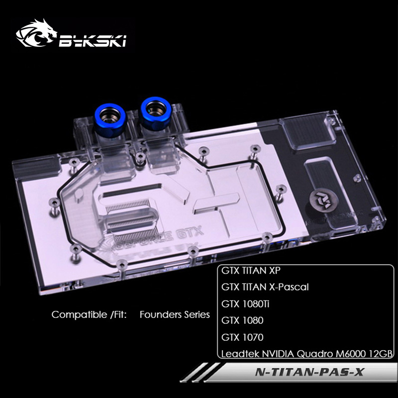 Bykski water block for Founders <font><b>1080TI</b></font>/1080/1070/<font><b>GTX</b></font> TITAN XP X-Pascal Leadtek <font><b>NVIDIA</b></font> full cover graphics card N-TITAN-PAS-X image