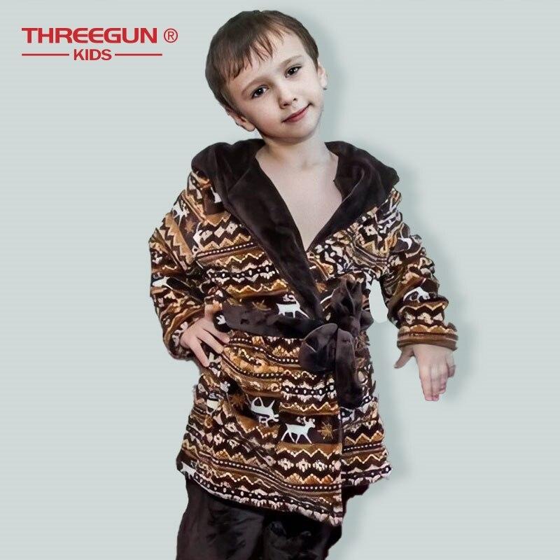 Image 2 - THREEGUN Kids Bathrobe Flannel Children Boys Brown Bath Robe  Winter Sleepwear 1 Robe   1 Pants Warm Pajamas 7 12 YearsRobes   -