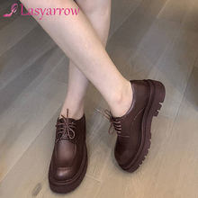 Lasyarrow-zapatos de tacón cuadrado con punta redonda para mujer, zapatillas femeninas de plataforma, fáciles de combinar, de cuero de vaca, con cordones, para otoño e invierno, 2021