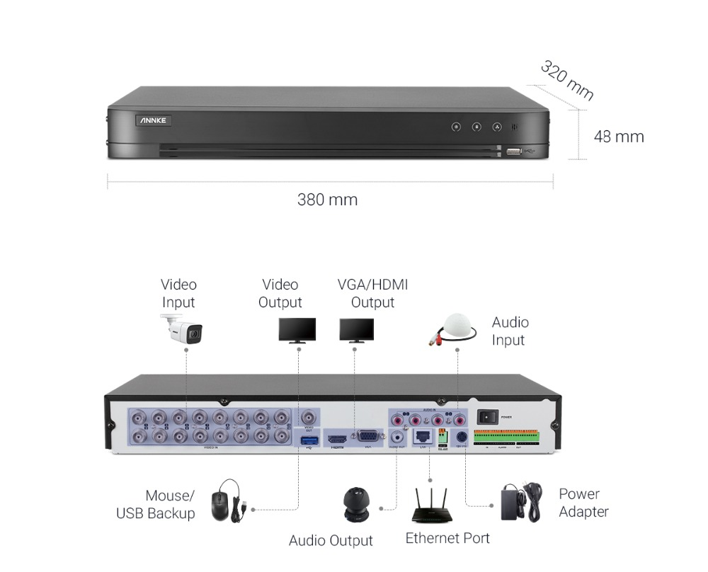 ANNKE 4K Ultra HD Video Security System 16CH 8MP H.265+ DVR With 8PCS 8MP Outdoor Weatherproof Surveillance Cameras CCTV Kit
