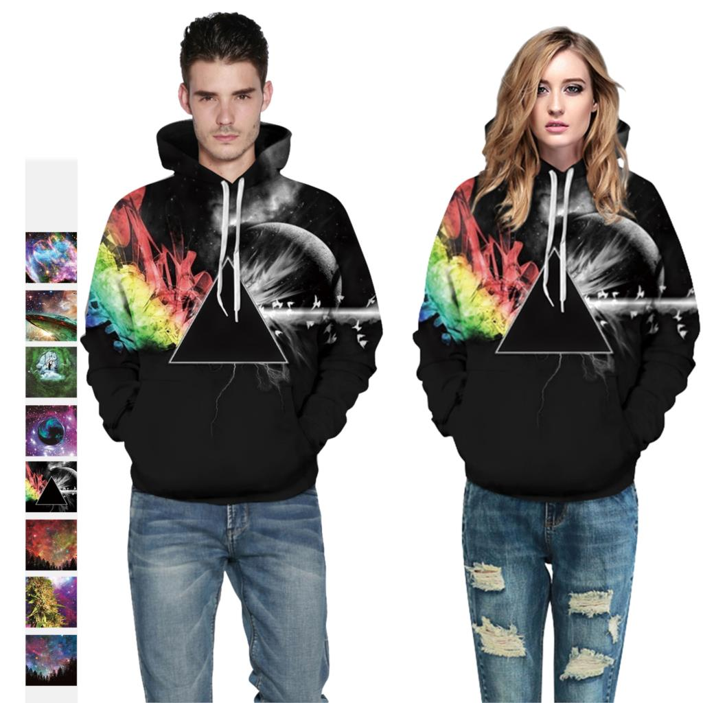 New Fashion Leaf Star Digital Printing Sweatshirt Lovers Wear Loose Casual Fitness Sports Hooded Track 2019
