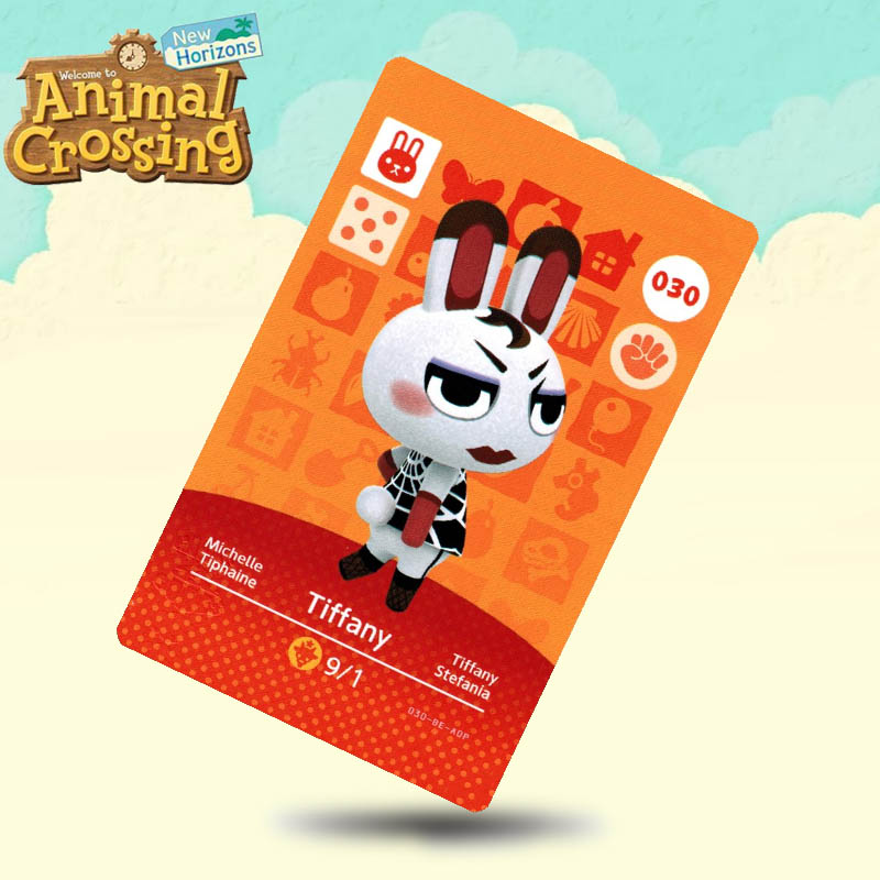 030 Tiffany  Animal Crossing Card Amiibo Cards Work For Switch NS 3DS Games
