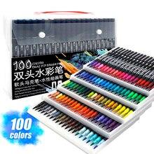 Marcadores de arte de aquarela caneta escova dupla ponta fineliner desenho para pintura caligrafia 12/48/60/72/100/120 cores conjunto arte suprimentos