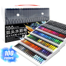 Watercolor Markers Brush Pen Dual Tip Fineliner Drawing for Coloring Art Markers Set Water Coloring 48/60/72/100 Color Pens