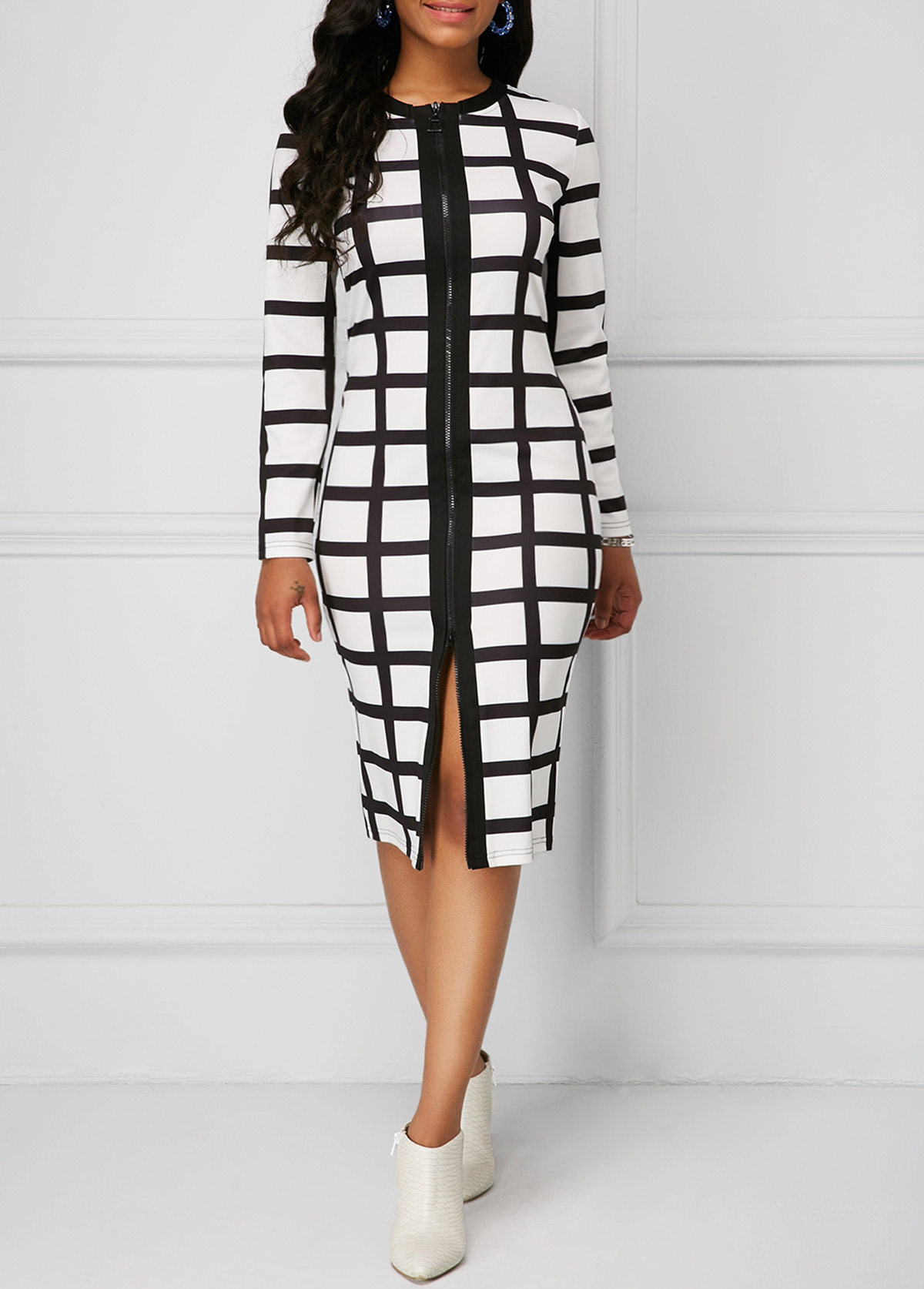 2019 Plus Size Fashion Women Dress 5xl New Autumn And Winter Dress Casual Black And White Plaid Zipper Slim Office Tight Dress