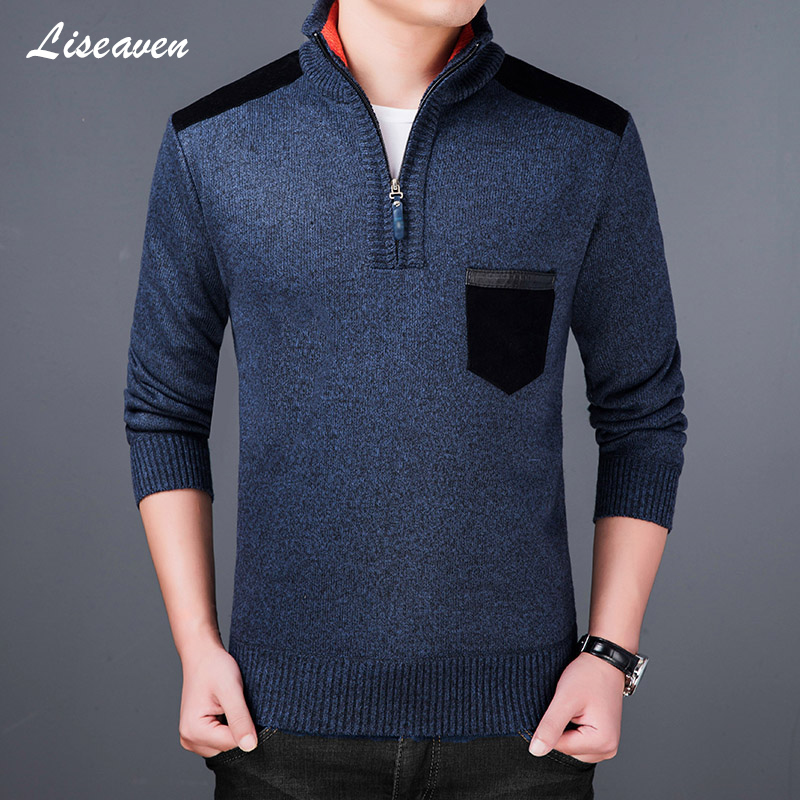 Liseaven Men 2019 Thick Fleece Sweater Turtleneck Winter Mens Pullovers Slim Fit Jumpers Knitwear Pull Homme Sweaters