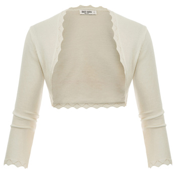 Grace Karin Women Shrug cardigan tops 3/4 Sleeve Open Front Slim Bolero Party Copped Retro Scalloped Knitting Jacket Summer Coat 10