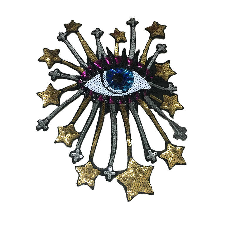 Hotfix Evil Eye Patches Ijzer Op Sequin Patches Voor Kleding Patch Diy Stars Cross Oogbol Pailletten En Borduurwerk Patch Eye bal