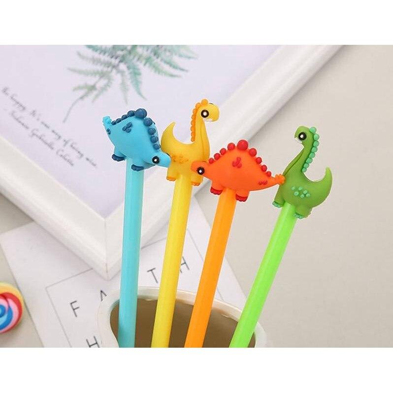 4 pçs bonito dinossauro 0.5mm gel caneta kawaii animal tinta preta novidade caneta escritório escola caneta fonte estudante crianças papelaria presente