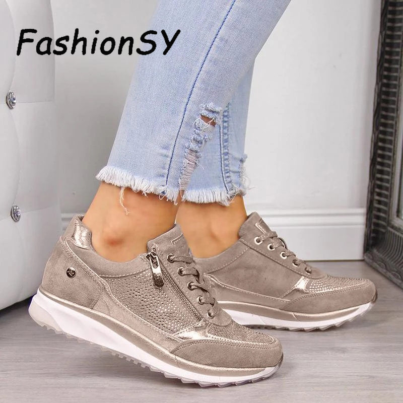 Women Shoes Wedges Sneakers Women Vulcanize Shoes Sequins Shake Shoes Fashion Girls Sport Shoes Woman Sneakers Shoes Footwear