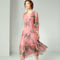 pink chiffon lace floral silk dresses women 2020 summer brand long casual sexy office work beach boho dress plus size dropship