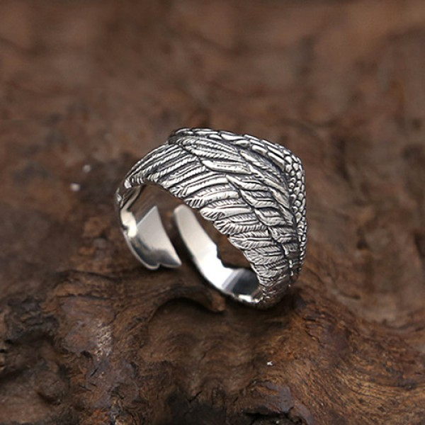 Exclusive Silver Plated Angel Wings Ring For Men Women Gothic Steampunk Party Anniversary Ring Adult Unisex Jewelry Gift H4T739 11