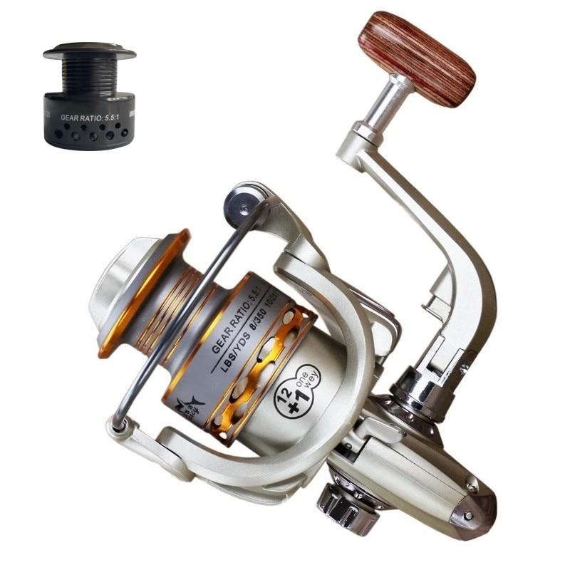 Dviguba ritinė žvejybos ritė medinė rankena 12 + 1BB verpimo - Žvejyba - Nuotrauka 3